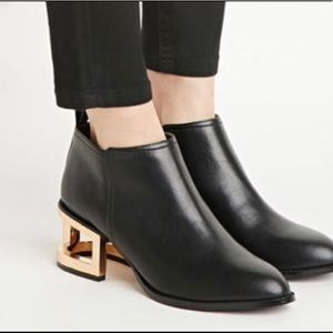 New Forever 21 Ankle Booties with Gold Cut Heel